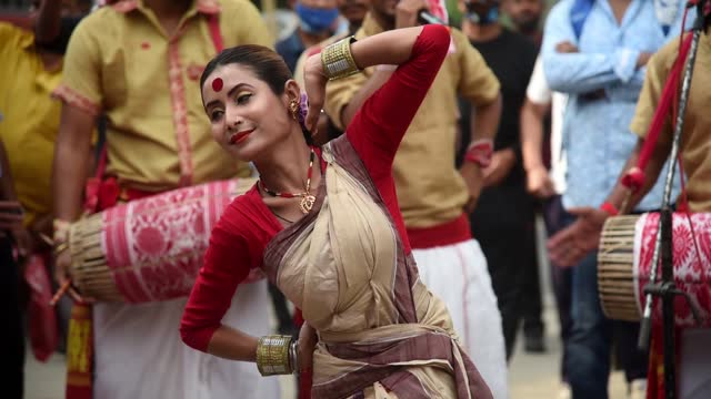 artists performing bihu dance at an event ahead of rongali bihu festival on april 4, 2021 in guwahati, india. assamese bihu is one of the most... - happiness stock videos & royalty-free footage