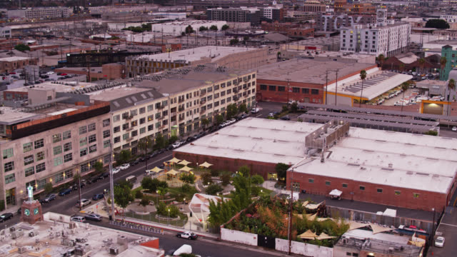 arts district park, downtown la - aerial view - los angeles county stock videos & royalty-free footage