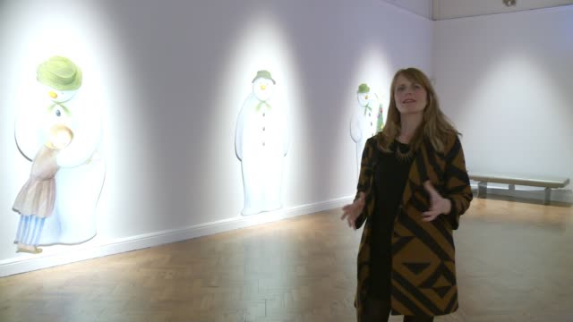 artwork from raymond briggs' 'the snowman' goes on display england east sussex brighton brighton museum and art gallery fiona story and reporter... - east sussex stock videos & royalty-free footage