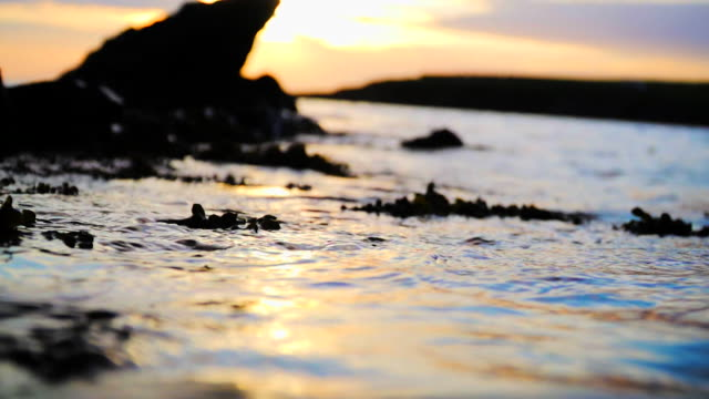 arty slomo of waves lapping shore at sunrise - seascape stock videos & royalty-free footage