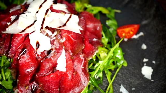 Arugula salad with smoked beef