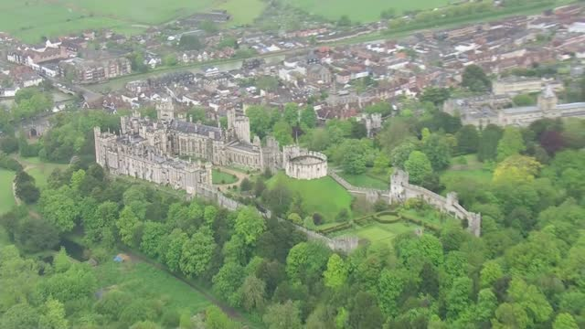 arundel castle air views; england: west sussex: arundel: arundel castle: ext air views of arundel castle and surrounding area - arundel castle stock videos & royalty-free footage