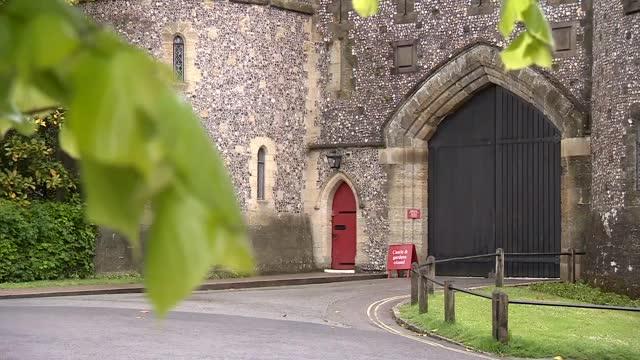 arundel castle general views; england: west sussex: arundel: arundel castle: ext arundel castle main entrance / sign 'arundel castle & grounds' /... - arundel castle stock videos & royalty-free footage