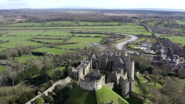 february 2020: arundel castle pictured by drone. - british culture stock videos & royalty-free footage