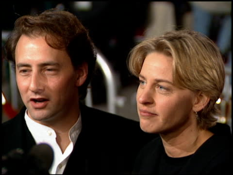 stockvideo's en b-roll-footage met arye gross and ellen degeneres at the 'interview with the vampire' premiere at the mann village theatre in westwood california on november 9 1994 - 1994