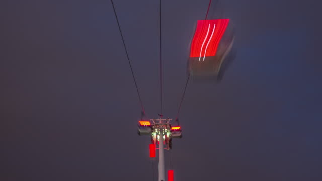 As an overcast evening arrives gondolas on the River Thames Cable car crossing pass rapidly over head