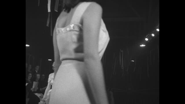 ms as audience waits for pageant start / contestants move into place on stage / marion albert walks toward camera tina howard follows / judges make... - contestant stock videos and b-roll footage