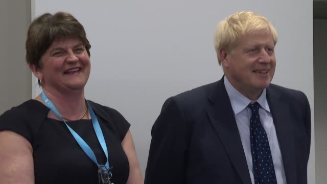 as brexit negotiations on the status of the uk-ireland border reach a crucial stage british prime minister boris johnson attends an event at the... - dup stock-videos und b-roll-filmmaterial
