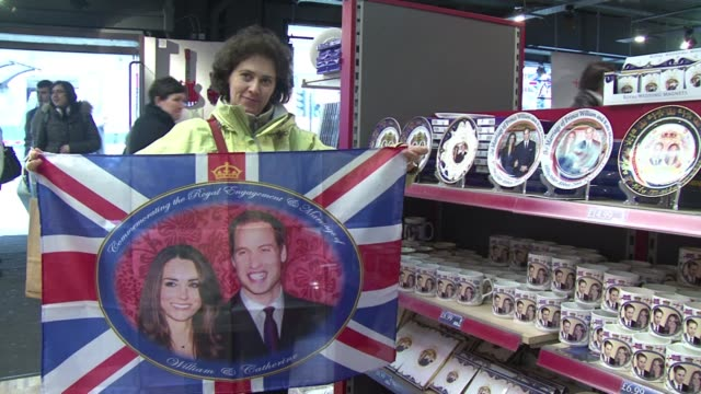 as britain gears up for the wedding of kate middleton and prince william on april 29th london's souvenir shops are counting on a spring bonanza... - souvenir stock videos and b-roll footage