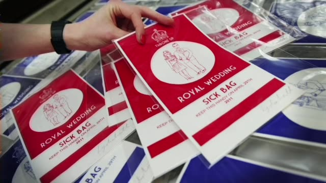 as britain gears up for the wedding of kate middleton and prince william on april 29th london's souvenir shops are counting on a spring bonanza... - afp stock videos & royalty-free footage