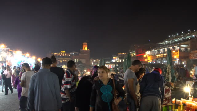 As darkness falls, the Jamaa el Fna square in Marrakech fills with dozens of food-stalls as the number of people on the square peaks