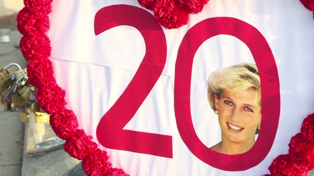 as fans and friends of diana princess of wales mark the 20th anniversary of her death one 29 year resident of the building overlooking the crash site... - 20th anniversary stock videos & royalty-free footage