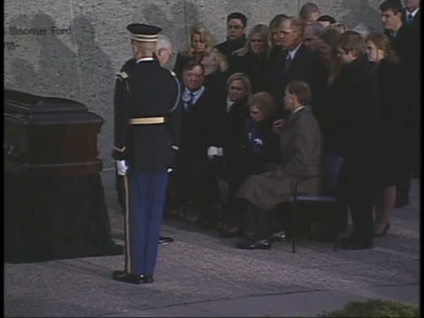 as former us president gerald ford is laid to rest, vice president dick cheney presents former first lady betty ford with the american flag that had... - dick cheney stock videos & royalty-free footage