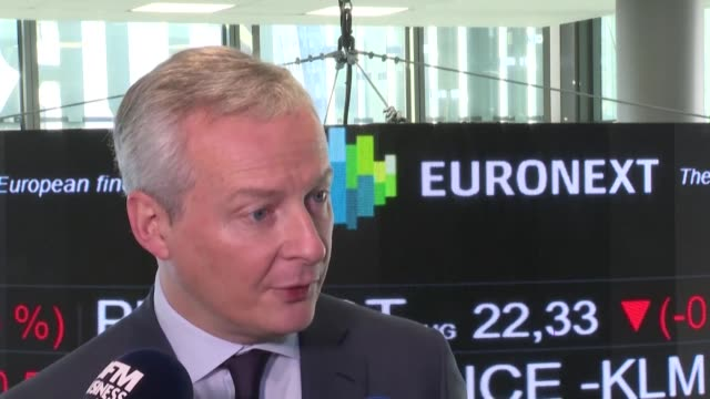 as french finance minister bruno le maire rang the opening bell at the paris stock exchange investors cheered a strong market debut for shares in... - paris stock exchange stock videos & royalty-free footage