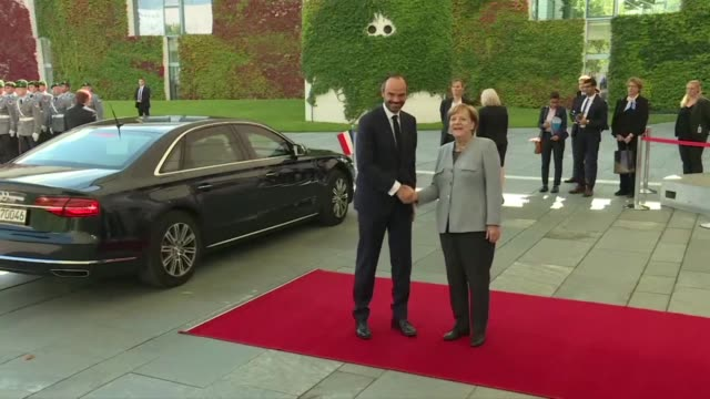 As Germany counts down to election day Chancellor Angela Merkel the clear frontrunner received French Prime Minister Edouard Philippe in Berlin on...