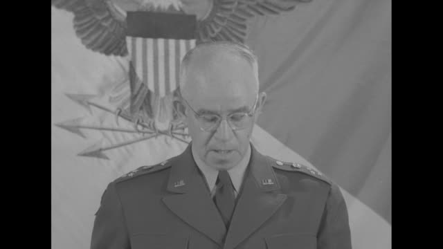 """as he delivers a proposed speech at the pentagon, sot gen. omar bradley discusses us role and strategy in cold war era: """"air power and the atomic... - nuclear weapon stock videos & royalty-free footage"""