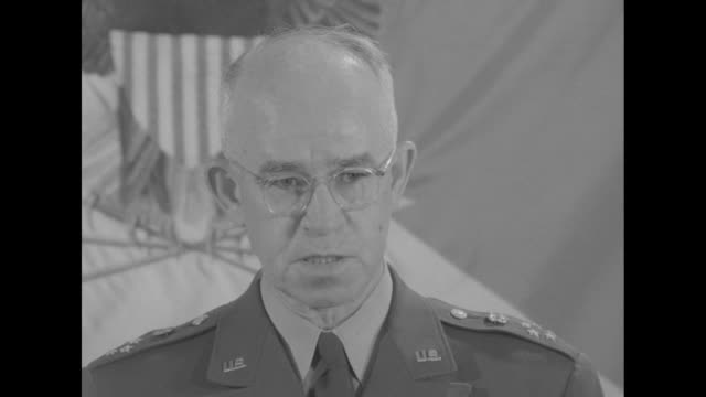 as he delivers a proposed speech at the pentagon, sot gen. omar bradley discusses soviet union participation in korean war, treaties, atomic... - nuclear weapon stock videos & royalty-free footage