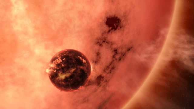 As it becomes a red giant star, our sun may eventually grow big enough to engulf the Earth.  This scene depicts the destruction of our planet five billion years from now