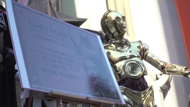 As moviegoers around the US head to theatres for opening night of the latest Star Wars film The Last Jedi fans in Los Angeles pay tribute to actress...