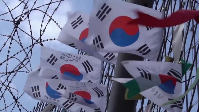 as nuclear armed north korea's missile stand off with the us escalates calls are mounting in the south for seoul to build nuclear weapons of its own... - südkorea stock-videos und b-roll-filmmaterial