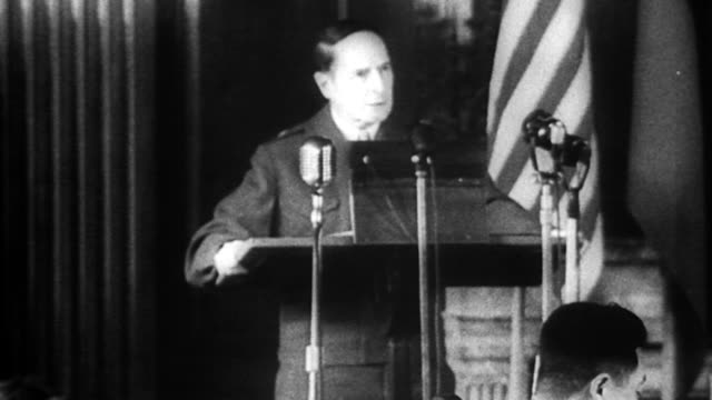 as occupation commander, general douglas macarthur enters the first meeting of the allied council for japan, composed of delegates from the united... - 1946 stock-videos und b-roll-filmmaterial