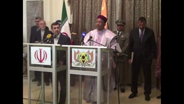 as part of a three nation tour of africa iranian president mahmoud ahmadinejads on tuesday wrapped up a visit to niger where he met with president... - mahamadou issoufou stock videos and b-roll footage