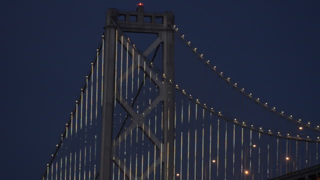as part of a unique art project celebrating its 75th anniversary, the west span of the bay bridge has been outfitted with 25,000 led lights that will display a variety of undulating designs nightly for the next two years. - led stock videos & royalty-free footage