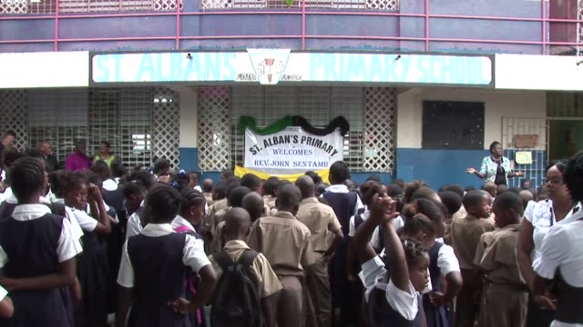 as part of his tour of jamaica the archbishop of york dr john sentamu visited st alban's primary school in denham town west kingston john sentamu... - emma brumpton stock videos & royalty-free footage
