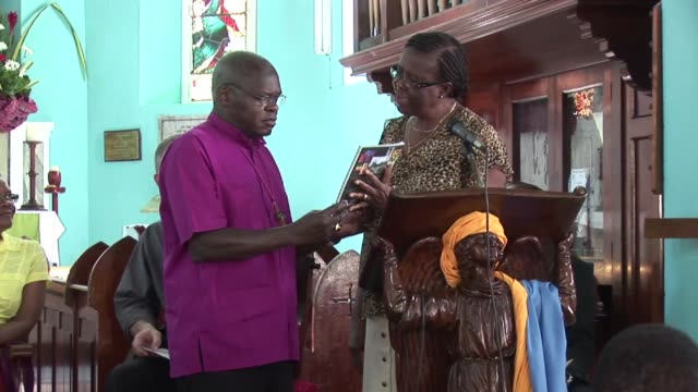 as part of his visit to jamaica in 2012 the archbishop of york dr john sentamu visited a church in kingston where he gave a sermon dr john sentamu... - emma brumpton stock videos & royalty-free footage