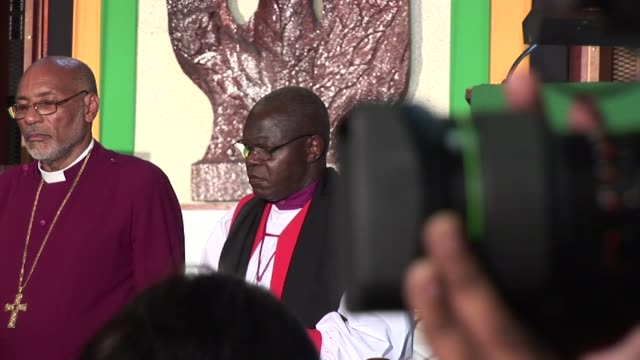 as part of his visit to jamaica in 2012 the archbishop of york dr john sentamu visited dr john sentamu visits on january 23 2012 in jamaica - emma brumpton stock videos & royalty-free footage