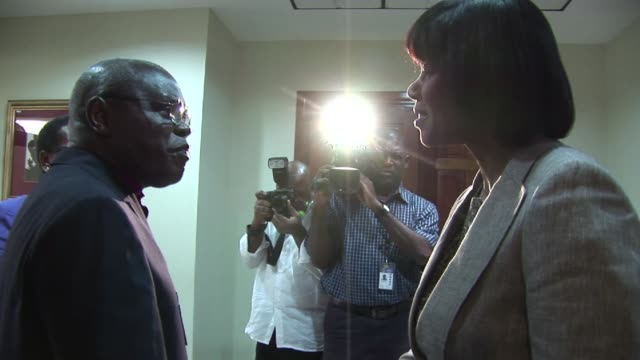 as part of his visit to jamaica in 2012 the archbishop of york dr john sentamu met with the jamaican prime minister portia simpson miller dr john... - emma brumpton stock videos & royalty-free footage