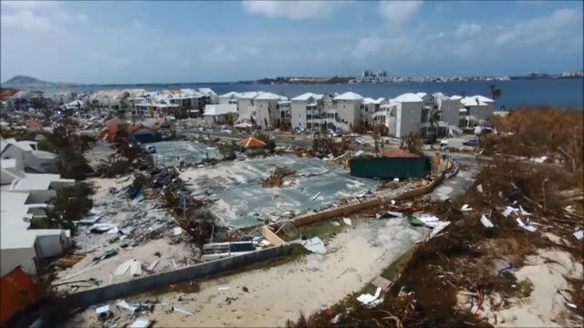vídeos de stock, filmes e b-roll de as prime minister edouard philippe travels to the french west indies this weekend the island of saint martin continues to clean up the damage it... - reportagem segmento editado