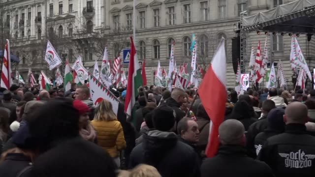as prime minister viktor orban rallied his supporters on thursday some 2000 supporters of hungarian far right party jobbik protested against him - hungarian culture stock videos & royalty-free footage