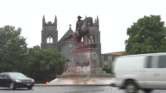 as protesters across the us call for confederate statues to be torn down in the wake of george floyd's death, afptv travels to virginia, home to the... - statue stock videos & royalty-free footage