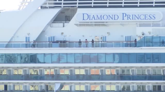 as the coronavirus-infected cruise ship diamond princess continues to be tested for coronavirus, passengers were seen on the ship on february 18,... - cruising stock videos & royalty-free footage