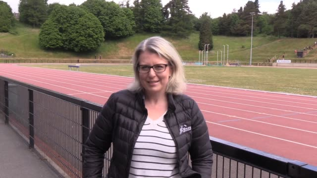 as the dame mary peters outdoor athletics track in south belfast reopens, kerry woods director of business & operations at athletics northern ireland... - メアリー ピータース点の映像素材/bロール
