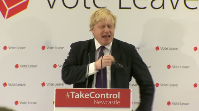 as the in and out eu campaigns gained steam london mayor and out campaigner boris johnson spoke for 'vote leave' in newcastle shows boris johnson... - boris johnson stock videos and b-roll footage