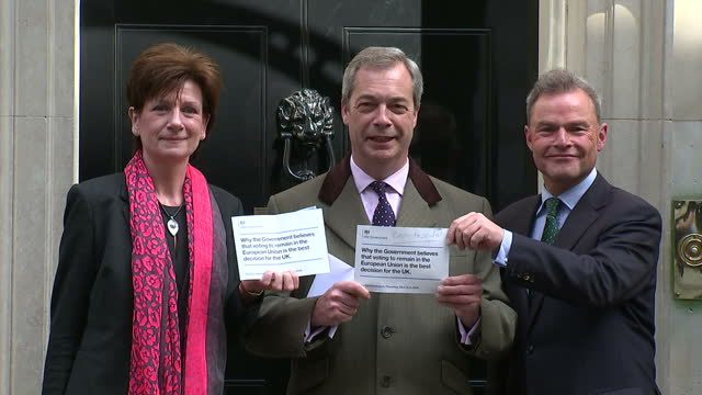 as the in and out eu referendum campaign kick off ukip leader nigel farage delivered back the government leaflet setting out the reasons to stay in... - diane james politik stock-videos und b-roll-filmmaterial
