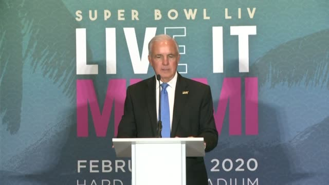 as the miami super bowl committee hosts a news conference to celebrate opening week of the nfl's super bowl in the city mayor of miami dade county... - miami dade county stock videos & royalty-free footage