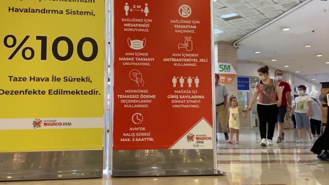 as turkey eases measures against coronavirus, amid improving numbers, shopping malls are set to reopen their doors. shops and malls urged to use... - istanbul stock-videos und b-roll-filmmaterial