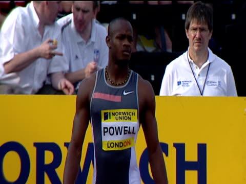 asafa powell preparing for men's 100m heats 2004 crystal palace athletics grand prix london - qualification round stock videos & royalty-free footage