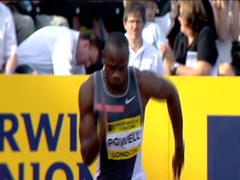 asafa powell winning men's 100m heat 1 2004 crystal palace athletics grand prix london - sports championship stock videos & royalty-free footage
