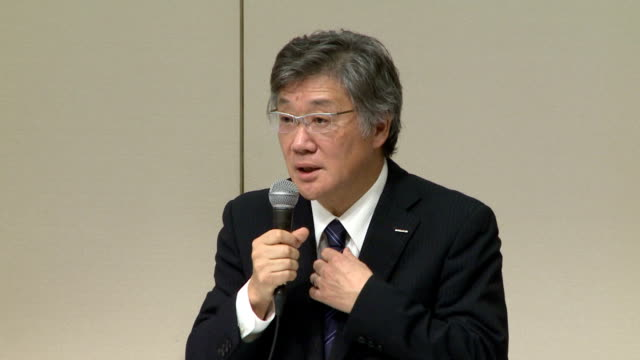 asahi kasei corp president toshio asano on tuesday apologized for a subsidiary's defective piling work and data falsification related to a tilting... - 和解点の映像素材/bロール