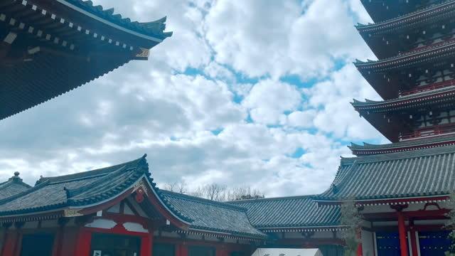 asakusa-jinja shrine and tokyo sky tree - shrine stock videos & royalty-free footage