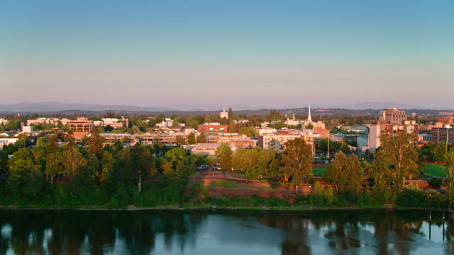 ascending aerial shot of downtown salem, or - oregon us state stock videos & royalty-free footage