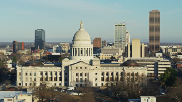 ascending aerial shot of the arkansas state capitol - government building stock videos & royalty-free footage