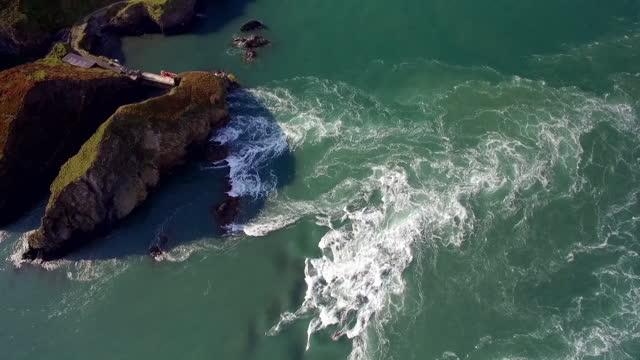 ascending aerial the bitches and ramsey island, wales - rapid stock videos & royalty-free footage