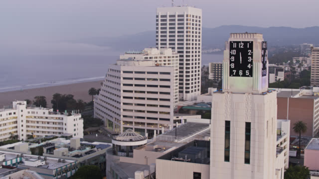 ascending drone shot of santa monica during the covid-19 lockdown - tower stock videos & royalty-free footage