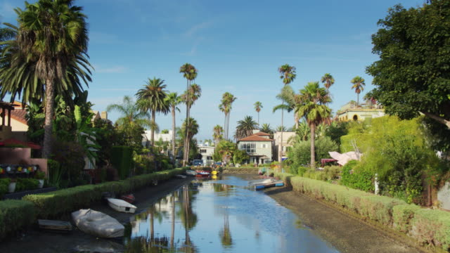 ascending drone shot of the venice canal historic district - canal stock videos & royalty-free footage