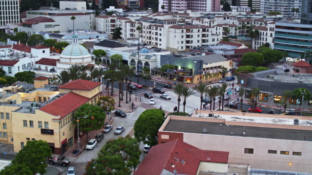ascending drone shot of westwood village, los angeles - westwood neighborhood los angeles stock videos & royalty-free footage